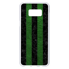Stripes1 Black Marble & Green Leather Samsung Galaxy S8 Plus White Seamless Case by trendistuff