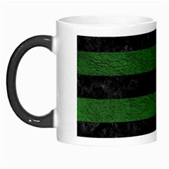 Stripes2 Black Marble & Green Leather Morph Mugs by trendistuff