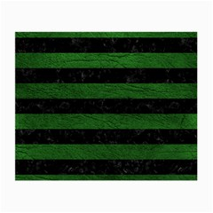 Stripes2 Black Marble & Green Leather Small Glasses Cloth (2 Side) by trendistuff