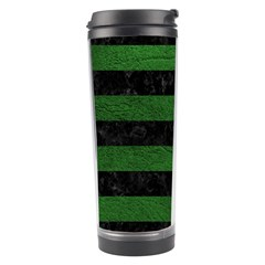 Stripes2 Black Marble & Green Leather Travel Tumbler by trendistuff