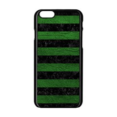Stripes2 Black Marble & Green Leather Apple Iphone 6/6s Black Enamel Case by trendistuff