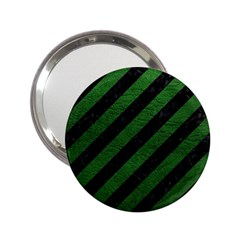 Stripes3 Black Marble & Green Leather 2 25  Handbag Mirrors by trendistuff