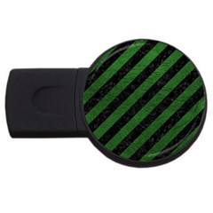 Stripes3 Black Marble & Green Leather Usb Flash Drive Round (2 Gb) by trendistuff