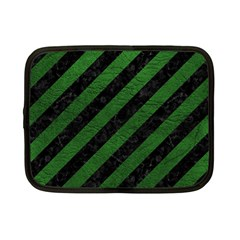 Stripes3 Black Marble & Green Leather Netbook Case (small)  by trendistuff