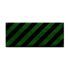 Stripes3 Black Marble & Green Leather Cosmetic Storage Cases by trendistuff