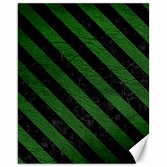 Stripes3 Black Marble & Green Leather (r) Canvas 16  X 20   by trendistuff
