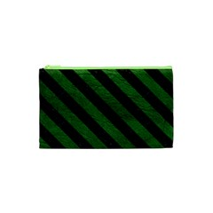 Stripes3 Black Marble & Green Leather (r) Cosmetic Bag (xs) by trendistuff