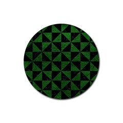 Triangle1 Black Marble & Green Leather Rubber Round Coaster (4 Pack)  by trendistuff