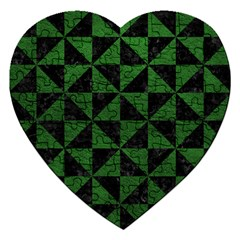 Triangle1 Black Marble & Green Leather Jigsaw Puzzle (heart) by trendistuff