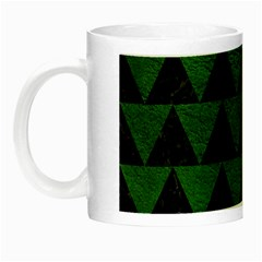 Triangle2 Black Marble & Green Leather Night Luminous Mugs by trendistuff