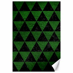 Triangle3 Black Marble & Green Leather Canvas 12  X 18   by trendistuff