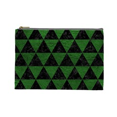 Triangle3 Black Marble & Green Leather Cosmetic Bag (large)  by trendistuff