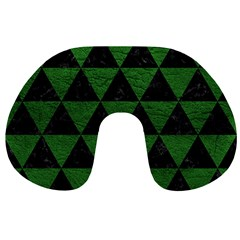 Triangle3 Black Marble & Green Leather Travel Neck Pillows by trendistuff