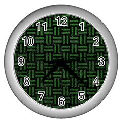 Woven1 Black Marble & Green Leather Wall Clocks (silver)  by trendistuff