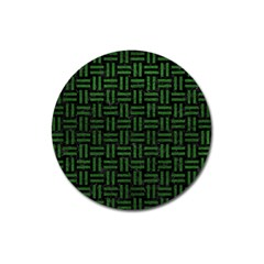 Woven1 Black Marble & Green Leather Magnet 3  (round) by trendistuff