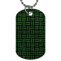 Woven1 Black Marble & Green Leather Dog Tag (two Sides) by trendistuff