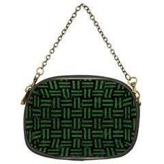 Woven1 Black Marble & Green Leather Chain Purses (two Sides)