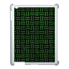 Woven1 Black Marble & Green Leather Apple Ipad 3/4 Case (white)