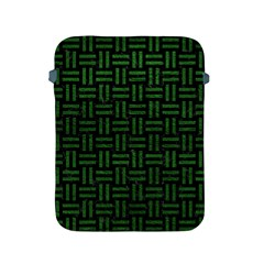 Woven1 Black Marble & Green Leather Apple Ipad 2/3/4 Protective Soft Cases by trendistuff