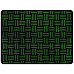 Woven1 Black Marble & Green Leather Double Sided Fleece Blanket (large)  by trendistuff