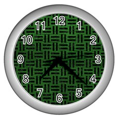 Woven1 Black Marble & Green Leather (r) Wall Clocks (silver)  by trendistuff