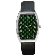 Woven1 Black Marble & Green Leather (r) Barrel Style Metal Watch by trendistuff