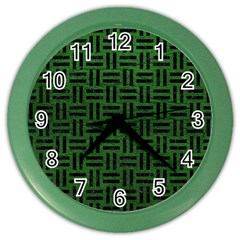 Woven1 Black Marble & Green Leather (r) Color Wall Clocks by trendistuff