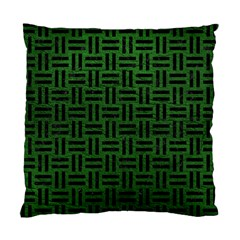 Woven1 Black Marble & Green Leather (r) Standard Cushion Case (one Side) by trendistuff