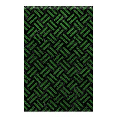 Woven2 Black Marble & Green Leather Shower Curtain 48  X 72  (small)  by trendistuff