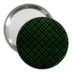 Woven2 Black Marble & Green Leather 3  Handbag Mirrors by trendistuff