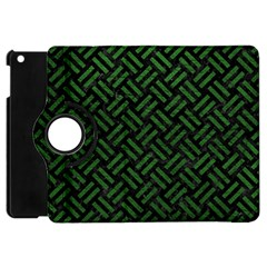 Woven2 Black Marble & Green Leather Apple Ipad Mini Flip 360 Case by trendistuff
