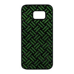 Woven2 Black Marble & Green Leather Samsung Galaxy S7 Edge Black Seamless Case by trendistuff