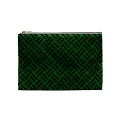 Woven2 Black Marble & Green Leather (r) Cosmetic Bag (medium)  by trendistuff