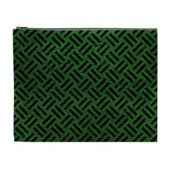 Woven2 Black Marble & Green Leather (r) Cosmetic Bag (xl) by trendistuff