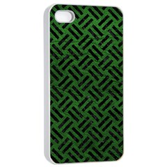 Woven2 Black Marble & Green Leather (r) Apple Iphone 4/4s Seamless Case (white) by trendistuff