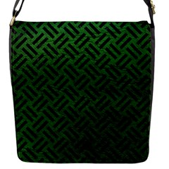Woven2 Black Marble & Green Leather (r) Flap Messenger Bag (s)