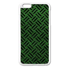 Woven2 Black Marble & Green Leather (r) Apple Iphone 6 Plus/6s Plus Enamel White Case