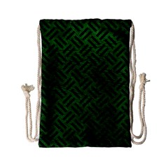 Woven2 Black Marble & Green Leather (r) Drawstring Bag (small) by trendistuff