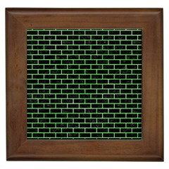 Brick1 Black Marble & Green Watercolor Framed Tiles by trendistuff
