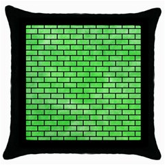 Brick1 Black Marble & Green Watercolor (r) Throw Pillow Case (black)