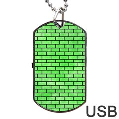 Brick1 Black Marble & Green Watercolor (r) Dog Tag Usb Flash (two Sides) by trendistuff