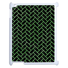Brick2 Black Marble & Green Watercolor Apple Ipad 2 Case (white) by trendistuff