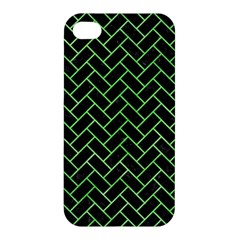 Brick2 Black Marble & Green Watercolor Apple Iphone 4/4s Hardshell Case by trendistuff