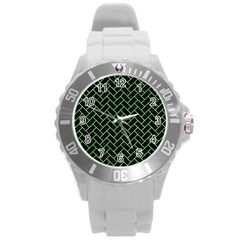 Brick2 Black Marble & Green Watercolor Round Plastic Sport Watch (l) by trendistuff