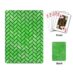 Brick2 Black Marble & Green Watercolor (r) Playing Card by trendistuff