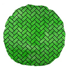 Brick2 Black Marble & Green Watercolor (r) Large 18  Premium Flano Round Cushions by trendistuff