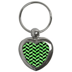 Chevron1 Black Marble & Green Watercolor Key Chains (heart)  by trendistuff