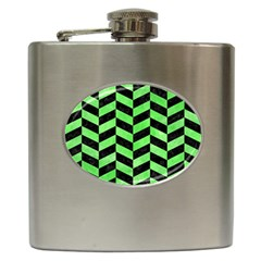Chevron1 Black Marble & Green Watercolor Hip Flask (6 Oz) by trendistuff