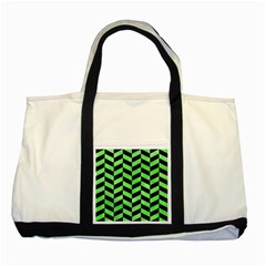 Chevron1 Black Marble & Green Watercolor Two Tone Tote Bag by trendistuff