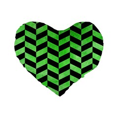 Chevron1 Black Marble & Green Watercolor Standard 16  Premium Flano Heart Shape Cushions by trendistuff
